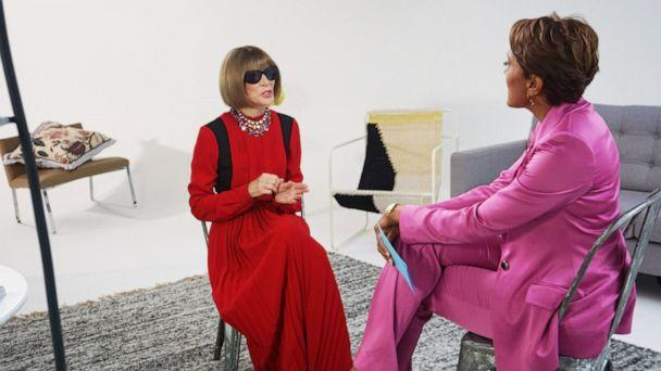 PHOTO: 'Good Morning America' co-anchor Robin Roberts interviews Vogue editor-in-chief Anna Wintour on September 4, 2019, in New York. (ABC)