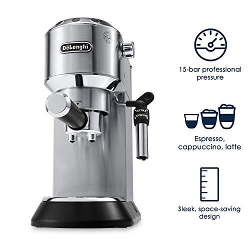"<p><strong>De'Longhi</strong></p><p>amazon.com</p><p><strong>$273.52</strong></p><p><a href=""http://www.amazon.com/dp/B072WZL4ZT/?tag=syn-yahoo-20&ascsubtag=%5Bartid%7C10052.g.27424252%5Bsrc%7Cyahoo-us"" target=""_blank"">Shop Now</a></p><p>The DeLonghi Dedica Deluxe is one of the most compact, professional-grade machines you can buy online, with a simple design and adjustable controls. It has 15-bar pressure, and the ability to make a single or double espresso, cappuccino or latte. The adjustable frother has different levels for steam and foam, and the machine has a 40-second heating time. </p>"