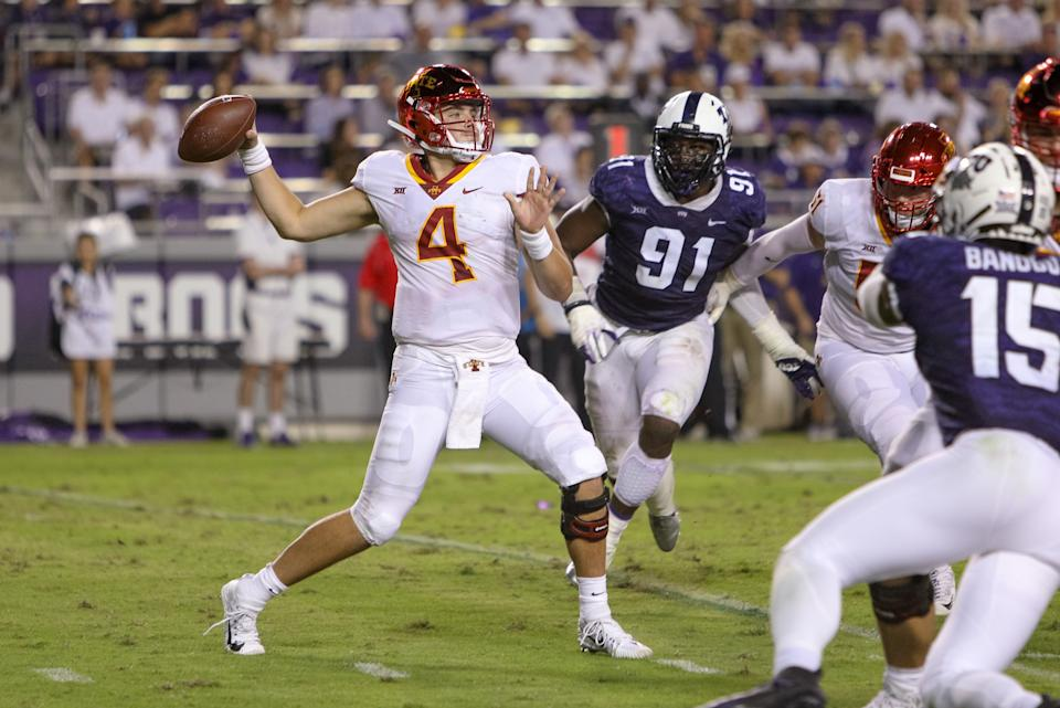 FORT WORTH, TX - SEPTEMBER 29: Iowa State Cyclones quarterback Zeb Noland (4) throws a pass during the game between the TCU Horned Frogs and Iowa State Cyclones on September 29, 2018 at Amon G. Carter Stadium in Fort Worth, TX.  (Photo by Andrew Dieb/Icon Sportswire via Getty Images)