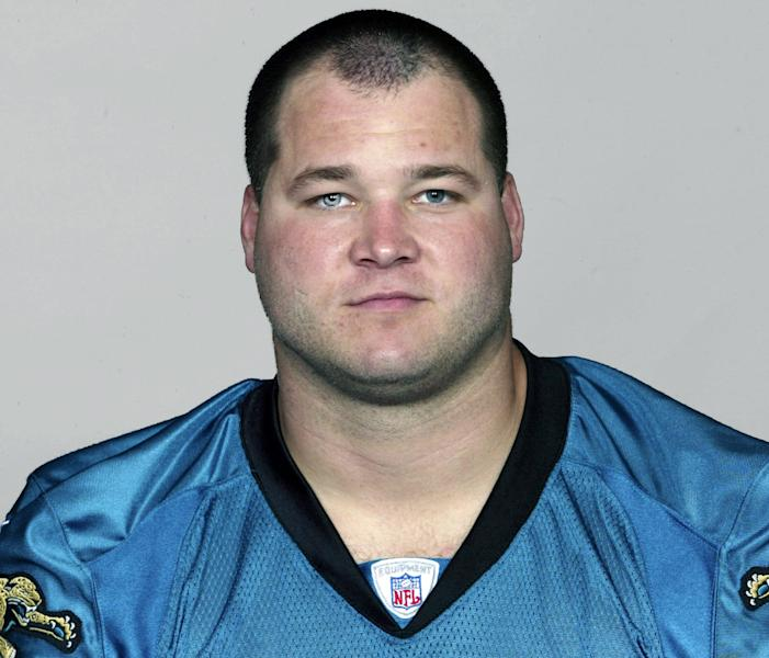 """This 2003 photo provided by the NFL shows Jacksonville Jaguars NFL player Marc Edwards. The former NFL player who played high school football with an Army sergeant suspected of slaughtering 16 Afghan villagers says the killings have caused him great concern for his former teammate. In a statement Tuesday, March 20, 2012, Marc Edwards calls Robert Bales """"one of my oldest and best friends."""" Edwards and Bales played on the same high school football team in the early 1990s in a Cincinnati suburb. (AP Photo/NFL Photos)"""