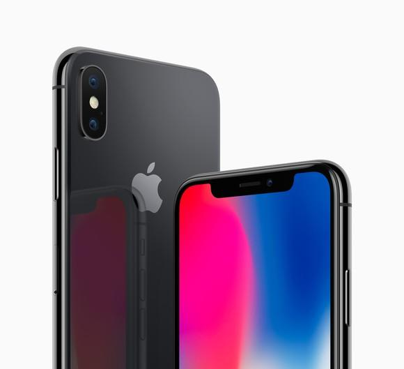 The back of the Apple iPhone X (left) and the front of the device (right).