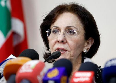 U.N. Under-Secretary General and ESCWA Executive Secretary Khalaf speaks during a news conference announcing her resignation from the United Nations in Beirut