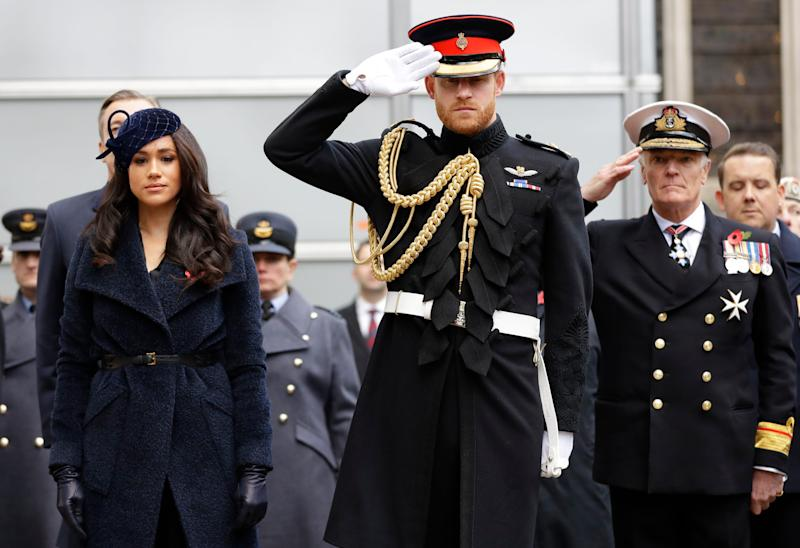 Prince Harry and Duchess Meghan of Sussex attend the 91st Field of Remembrance at Westminster Abbey in London, Nov. 7, 2019.