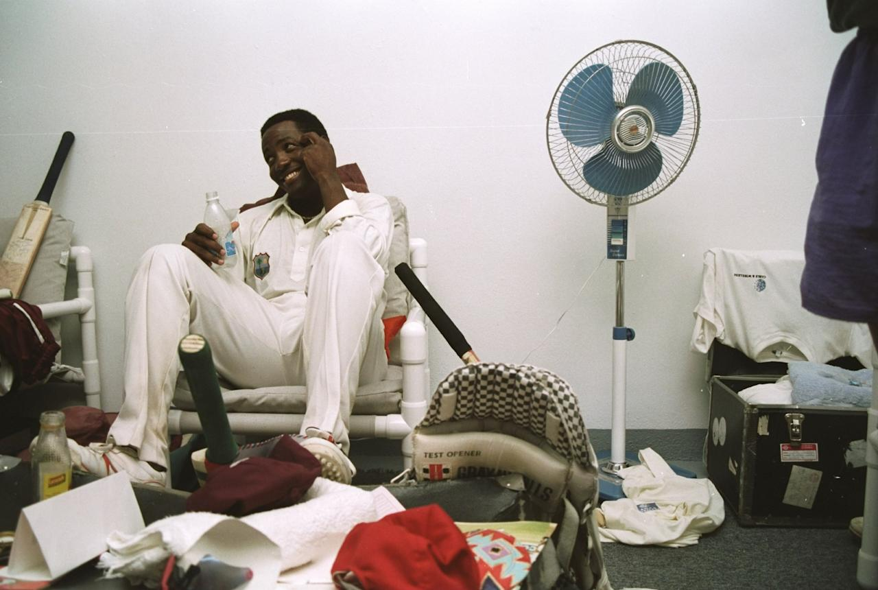 16-21 Apr 1994:  Brian Lara of the West Indies celebrates in the dressing room after scoring a record 375 runs during the Fifth Test match against England at the Recreation Ground in St John's, Antigua. The match ended in a draw.   \ Mandatory Credit: BenRadford/Allsport