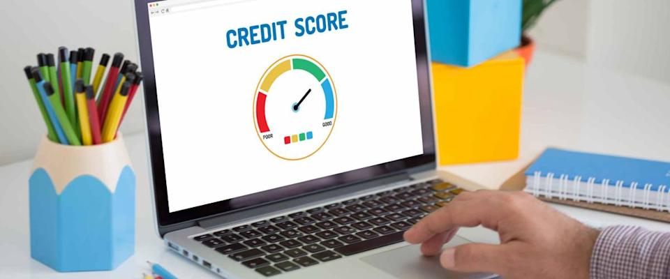 Computer with credit score application on a screen