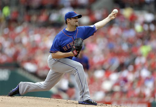 New York Mets starting pitcher Jonathon Niese throws during the first inning of a baseball game against the St. Louis Cardinals Thursday, May 16, 2013, in St. Louis. (AP Photo/Jeff Roberson)