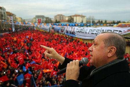 Turkish President Tayyip Erdogan addresses his supporters in Usak, Turkey January 20, 2018. Kayhan Ozer/Presidential Palace/Handout via REUTERS