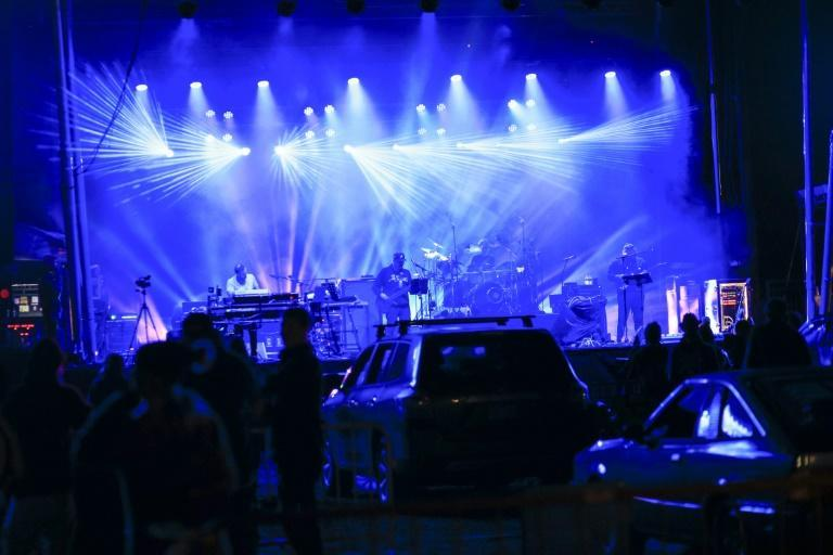 The band Disco Biscuits performs at a drive-in rave in Scranton, Pennsylvania, on October 23, 2020