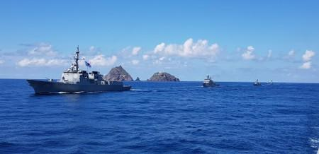 A South Korean Naval ship takes part in a military exercise in remote islands called Dokdo