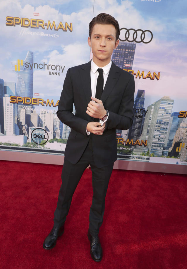 """<p><a href=""""https://www.yahoo.com/movies/tagged/tom-holland"""" data-ylk=""""slk:Tom Holland"""" class=""""link rapid-noclick-resp"""">Tom Holland</a> plays it cool at the <a href=""""https://www.yahoo.com/movies/film/spider-man-homecoming"""" data-ylk=""""slk:Spider-Man: Homecoming"""" class=""""link rapid-noclick-resp""""><em>Spider-Man: Homecoming</em></a> premiere at TCL Chinese Theatre on June 28, 2017, in Hollywood. (Photo: Eric Charbonneau/Invision/AP Images) </p>"""
