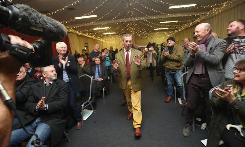 Nigel Farage at a Brexit party rally in Hull, UK