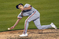 San Francisco Giants relief pitcher Tyler Rogers delivers during the ninth inning of the team's baseball game against the Pittsburgh Pirates in Pittsburgh, Thursday, May 13, 2021. The Giants won 3-1. (AP Photo/Gene J. Puskar)