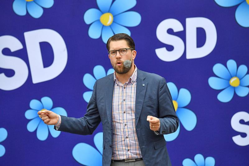 Sweden Democrats party leader Jimmie Akesson gives a speech in Landskrona, Sweden, on Aug. 31, 2018. (TT News Agency / Reuters)