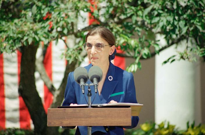 Judge Ruth Bader Ginsburg addresses reporters outside the White House on June 14, 1993, after President Bill Clinton announced he would nominate her for the Supreme Court.