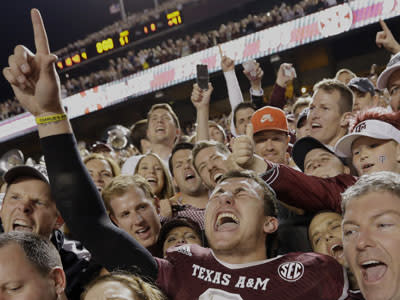 Johnny Manziel took rock-star fame to a different level while at Texas A&M. (AP)