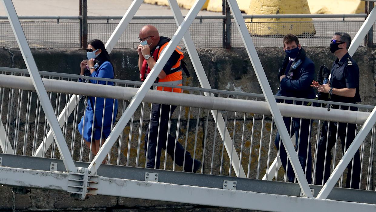 Home Secretary Priti Patel in Dover, the day after she appointed Dan O�Mahoney as the Clandestine Channel Threat Commander - a new role leading the UK�s response to tackling illegal attempts to reach the UK - who will be tasked with making the route unviable for small boat crossings.