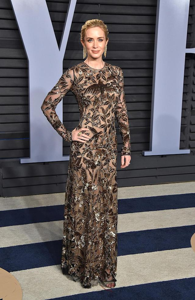 <p>The <em>Mary Poppins Returns</em> star changed out of her pale blue Schiaparelli Haute Couture gown and into this stunning embellished number. (Photo: John Shearer/Getty Images) </p>