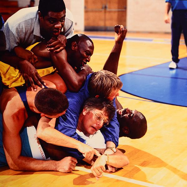 Friedkin (being mobbed on set, above) built his on-court cast around athletes, not actors. | Kohjiro Kinno