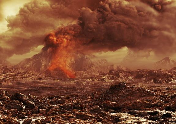 An artist's rendition of the surface of Venus with an erupting volcano.