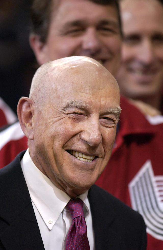 FILE - In this Sunday, April, 14, 2002, file photo, former Portland Trail Blazers coach Jack Ramsay smiles during a special 25th anniversary reunion of the Trail Blazers' 1976-77 championship team at halftime of their NBA basketball game against the Los Angeles Lakers, in Portland, Ore. Ramsay, a Hall of Fame coach who led the Portland Trail Blazers to the 1977 NBA championship before he became one of the league's most respected broadcasters, has died following a long battle with cancer. He was 89. (AP Photo/Shane Young, File)