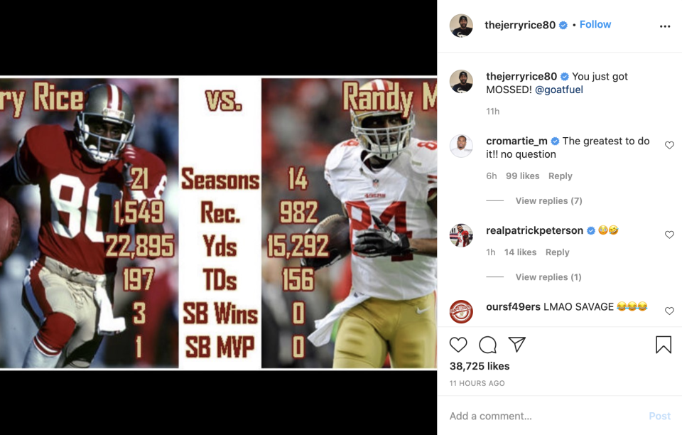Jerry Rice compared his numbers to Randy Moss in a deleted Instagram post. (Screenshot via @thejerryrice80 on Instagram)