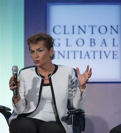 "Christiana Figueres, Executive Secretary, United Nations Framework Convention on Climate Change, takes part in a session labeled ""Vital Resources: Doing More with Less"" at the Clinton Global Initiative 2013 in New York"