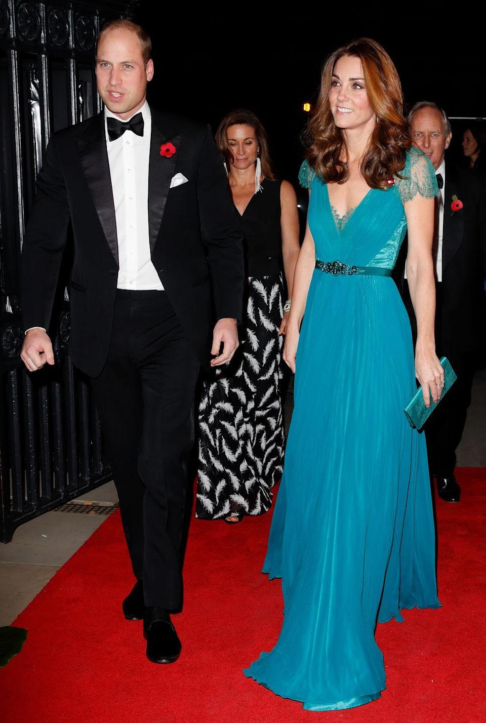 <p>The Duchess looked dazzling at the 2018 Tusk Conservation Awards in a familiar turquoise Jenny Packham gown, that she was first spotted in six years ago. <br></p>