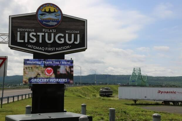 The Listiguj Mi'gmaq First Nation is located across from Campbellton, New Brunswick, where elementary and high school students attend school.  (Julia Page/CBC - image credit)