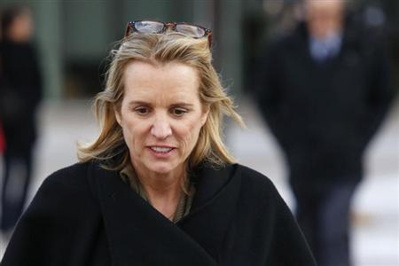 Kerry Kennedy, daughter of assassinated Senator Robert F. Kennedy and the ex-wife of New York Governor Andrew Cuomo, exits the Westchester County Courthouse in White Plains, New York, February 27, 2014. REUTERS/Eduardo Munoz