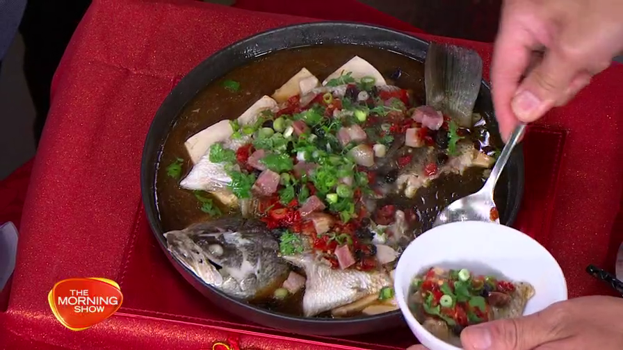 Steamed Barramundi with Red Chilli & Chinese Bacon