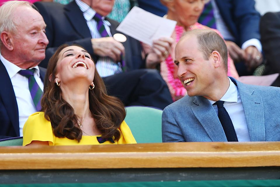 The Duke and Duchess of Cambridge get the giggles on day 13 of the tournament in 2018. <em>[Photo: Getty Images]</em>