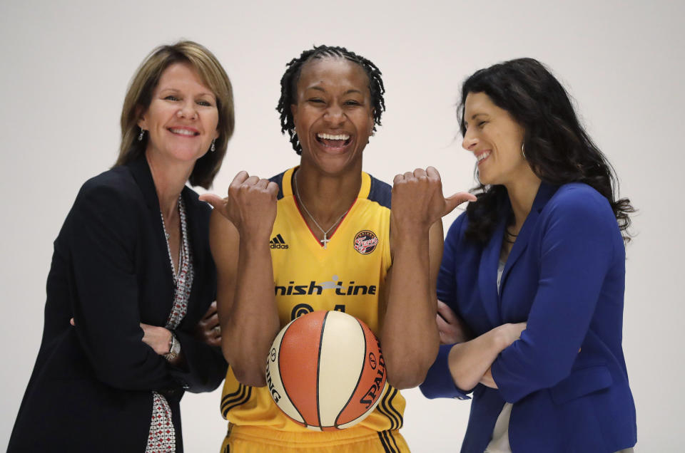 Indiana Fever president and general manager Kelly Krauskopf, left, with Tamika Catchings and head coach Stephanie White in 2016. (AP Photo/Darron Cummings, File)