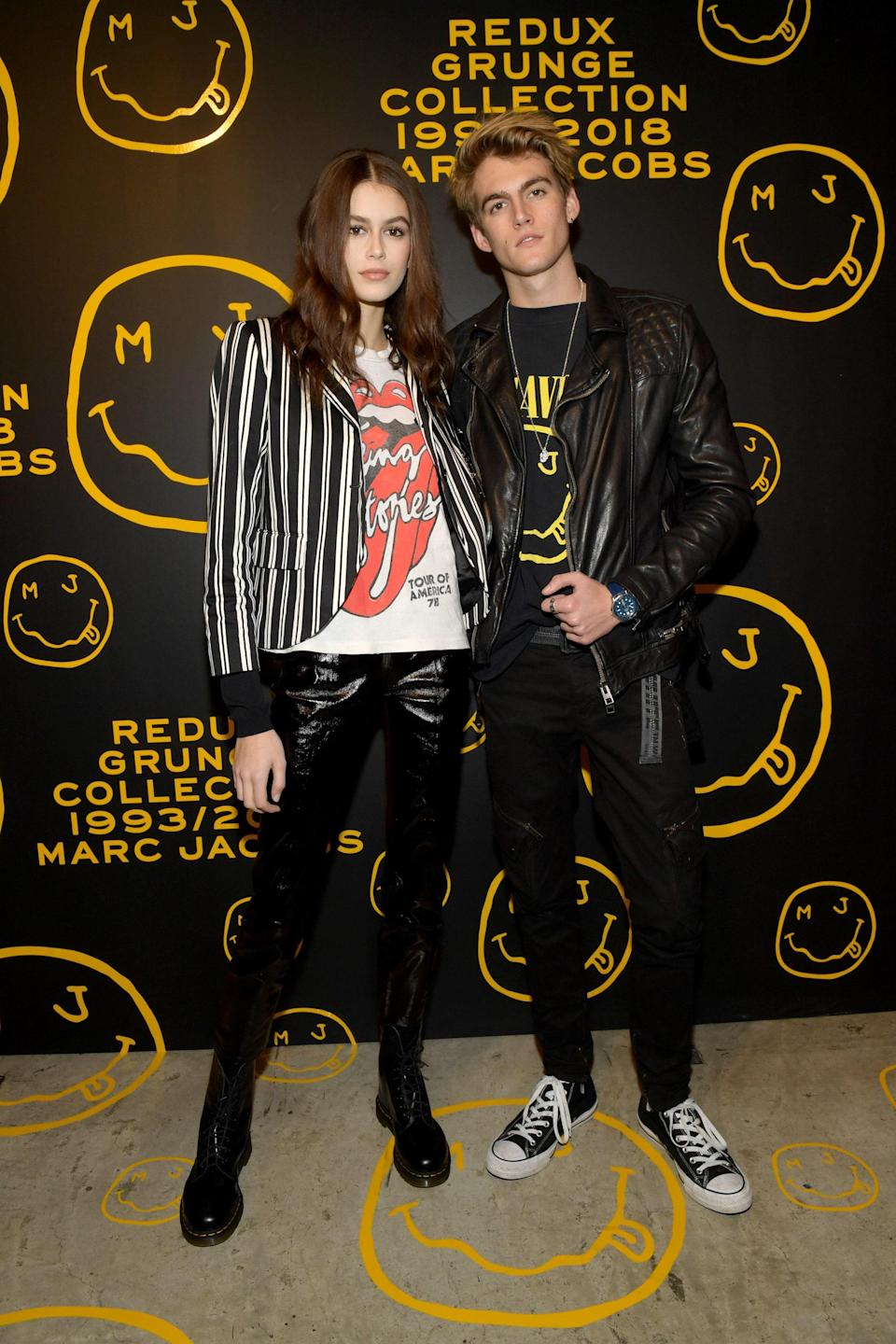 Band tees for Marc Jacobs' Redux Grunge Collection unveiling alongside brother Presley Gerber.