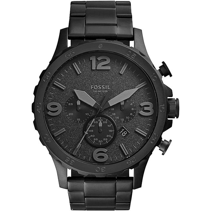 """<p><strong>Fossil</strong></p><p>amazon.com</p><p><strong>$89.00</strong></p><p><a href=""""https://www.amazon.com/dp/B00NVAWTLY?tag=syn-yahoo-20&ascsubtag=%5Bartid%7C10054.g.35351418%5Bsrc%7Cyahoo-us"""" rel=""""nofollow noopener"""" target=""""_blank"""" data-ylk=""""slk:Shop Now"""" class=""""link rapid-noclick-resp"""">Shop Now</a></p><p>Black on black, and good all over. </p>"""