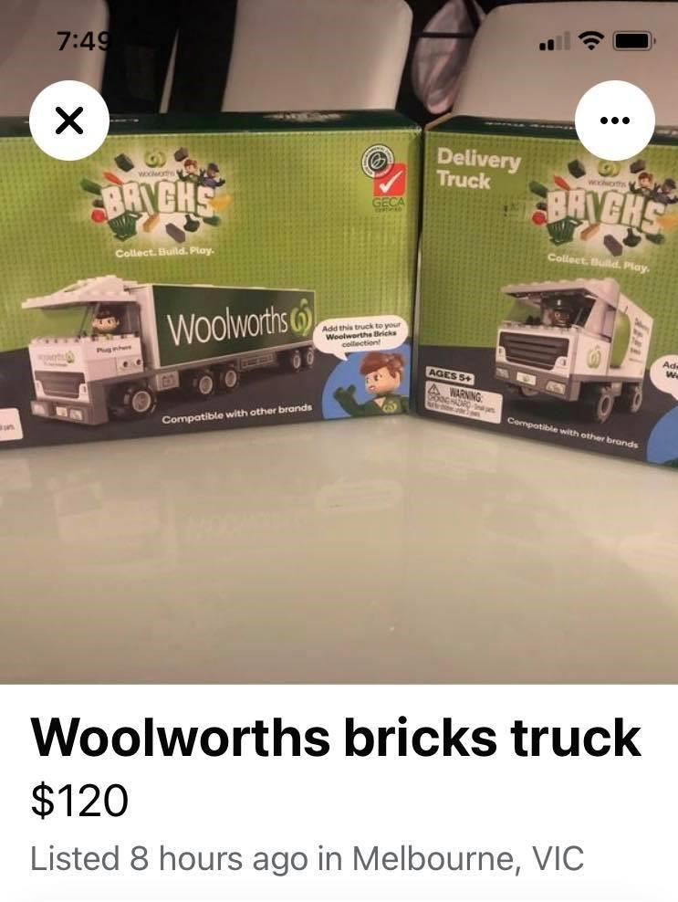 Boxes of Woolworths Bricks trucks for sale for $120. Source: Facebook
