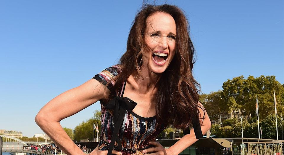 Andie MacDowell walks for L'Oreal at Paris Fashion Week. [Photo: Getty]