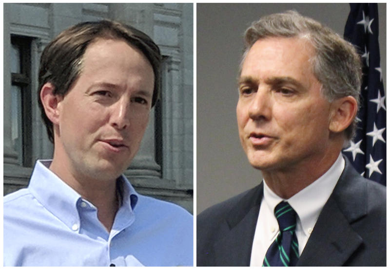 FILE - This combination of 2018 file photos shows Arkansas Congressional candidates, Democrat Clarke Tucker, left, and Republican U.S. Rep. French Hill. Tucker and Hill condemned a political action committee's radio ad that suggests white Democrats will lynch black Americans if they win the midterm election next month.  (AP Photos/File)