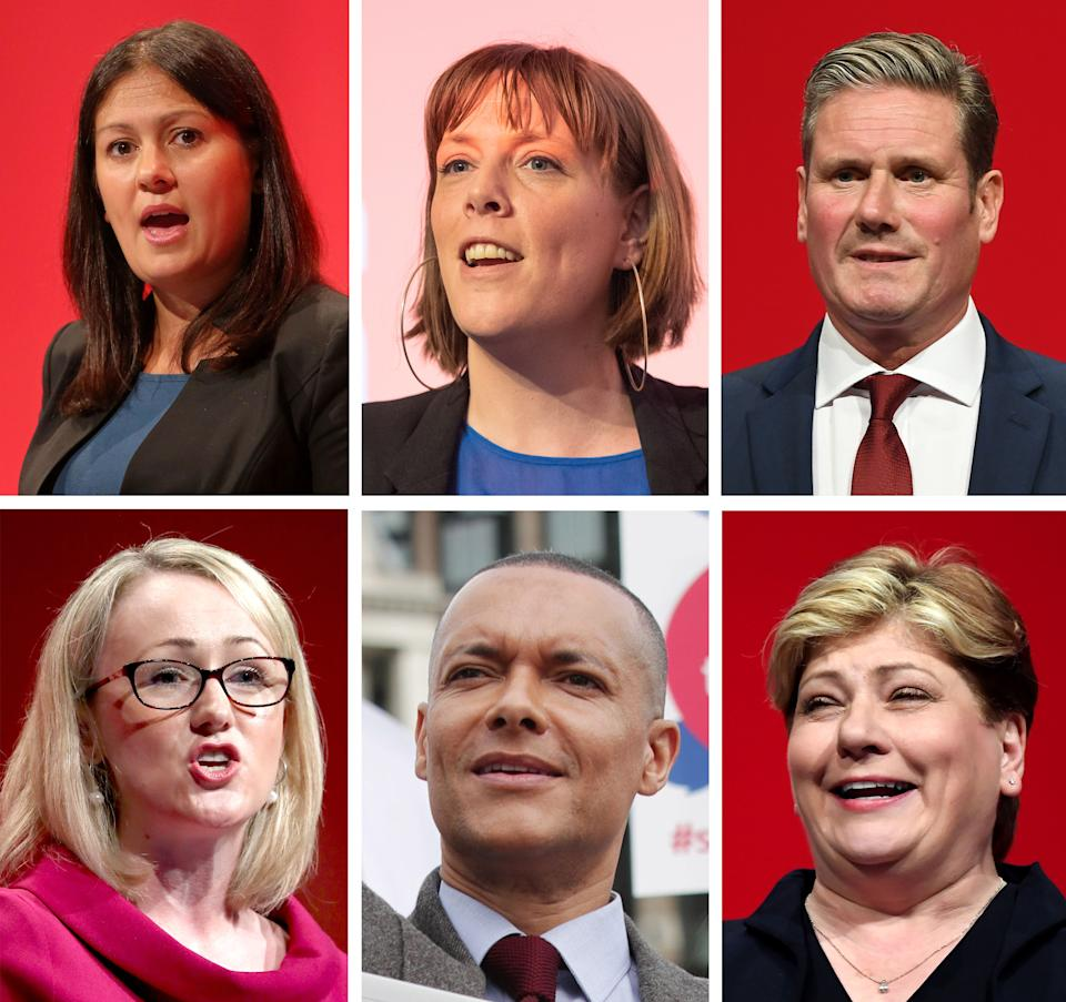 File photos of (top, left to right) Lisa Nandy, Jess Phillips, Keir Starmer, (bottom, left to right) Rebecca Long-Bailey, Clive Lewis and Emily Thornbury, the six Labour Party MPs that have declared their intention to run in the upcoming leadership election.