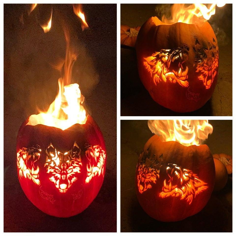 A pumpkin made in the image of Cerberus the three-headed dog