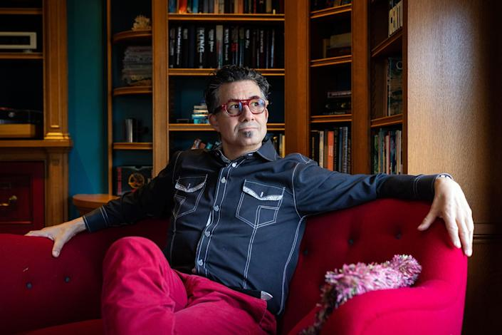 Derrick Rossi, the founder of Moderna, inside his home in Newton, MA.