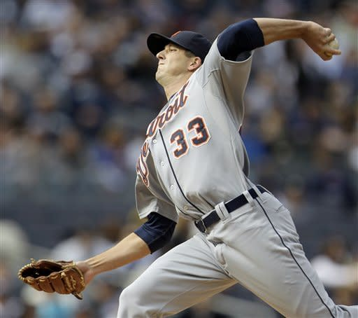 Detroit Tigers starting pitcher Drew Smyly throws during the first inning of a baseball game against the New York Yankees, Saturday, April 28, 2012 in New York. (AP Photo/Julio Cortez)