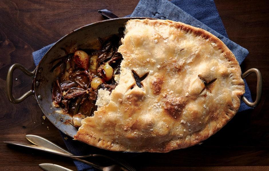 "Shortening is the secret to extra-flaky pie crust, but nothing compares to the flavor of butter. Use both, as in this super-luxe beef pie, and you're golden. <a href=""https://www.bonappetit.com/recipe/short-rib-pot-pie?mbid=synd_yahoo_rss"" rel=""nofollow noopener"" target=""_blank"" data-ylk=""slk:See recipe."" class=""link rapid-noclick-resp"">See recipe.</a>"