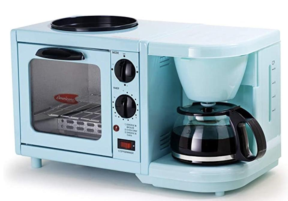 <p>Maximize your kitchen counter space with the <span>Elite Gourmet Americana Coffee Maker Toaster Oven Griddle 3-in-1 Multi-function Breakfast Center</span> ($51, originally $60).</p>