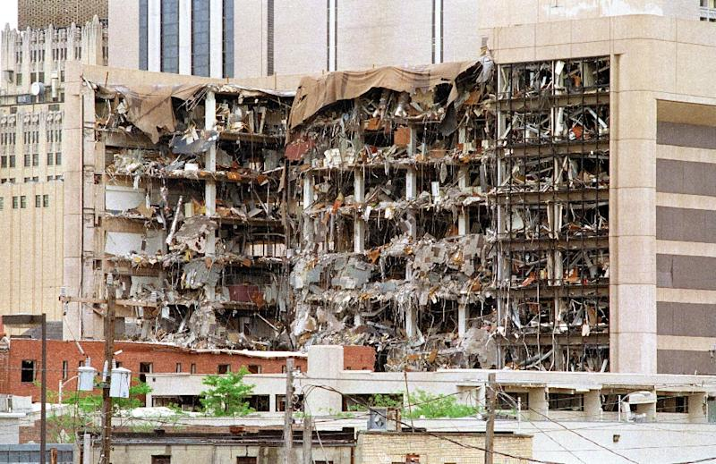 The north side of the Albert P. Murrah Federal Building in Oklahoma City shows the devastation caused by a fuel-and fertilizer truck bomb that was detonated early April 19, 1995, in front of the building (AFP Photo/Bob Daemmrich)
