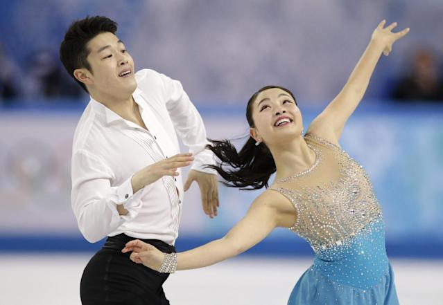 Maia Shibutani and Alex Shibutani of the United States compete in the ice dance short dance figure skating competition at the Iceberg Skating Palace during the 2014 Winter Olympics, Sunday, Feb. 16, 2014, in Sochi, Russia. (AP Photo/Bernat Armangue)