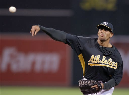 Oakland Athletics' Tyson Ross works against the San Francisco Giants during the second inning of an exhibition baseball game Tuesday, April 3, 2012, in Oakland, Calif. (AP Photo/Ben Margot)