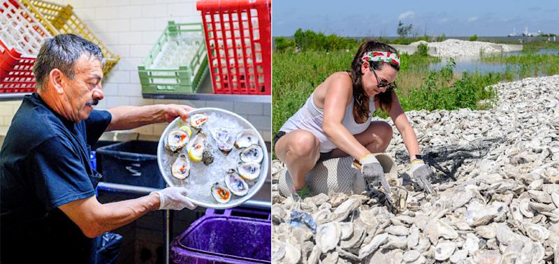LEFT: Jose Orlando dumps the shells of eaten oysters into the collection bin in the kitchen at Superior Seafood in New Orleans, Louisiana., on May 16, 2019. RIGHT: Sydney Comeaux of Superior Seafood collects oyster shells into a bag at the Coalition to Restore Coastal Louisiana oyster shell collection center in Buras, Louisiana., on May 21, 2019. (Photo: Emily Kask for HuffPost)