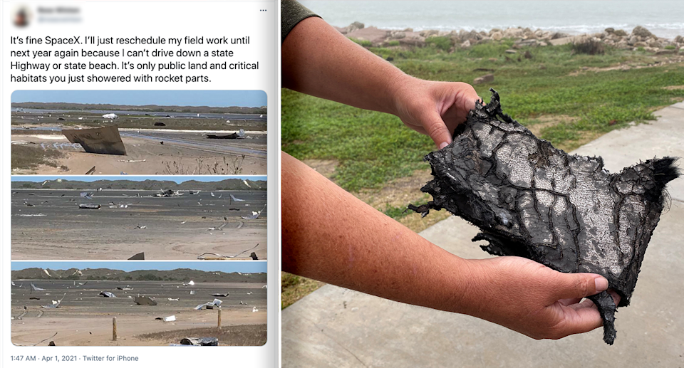 An wildlife researcher took to Twitter to vent as Texas residents began picking up rocket debris after a failed SpaceX test. Source: Twitter / Reuters
