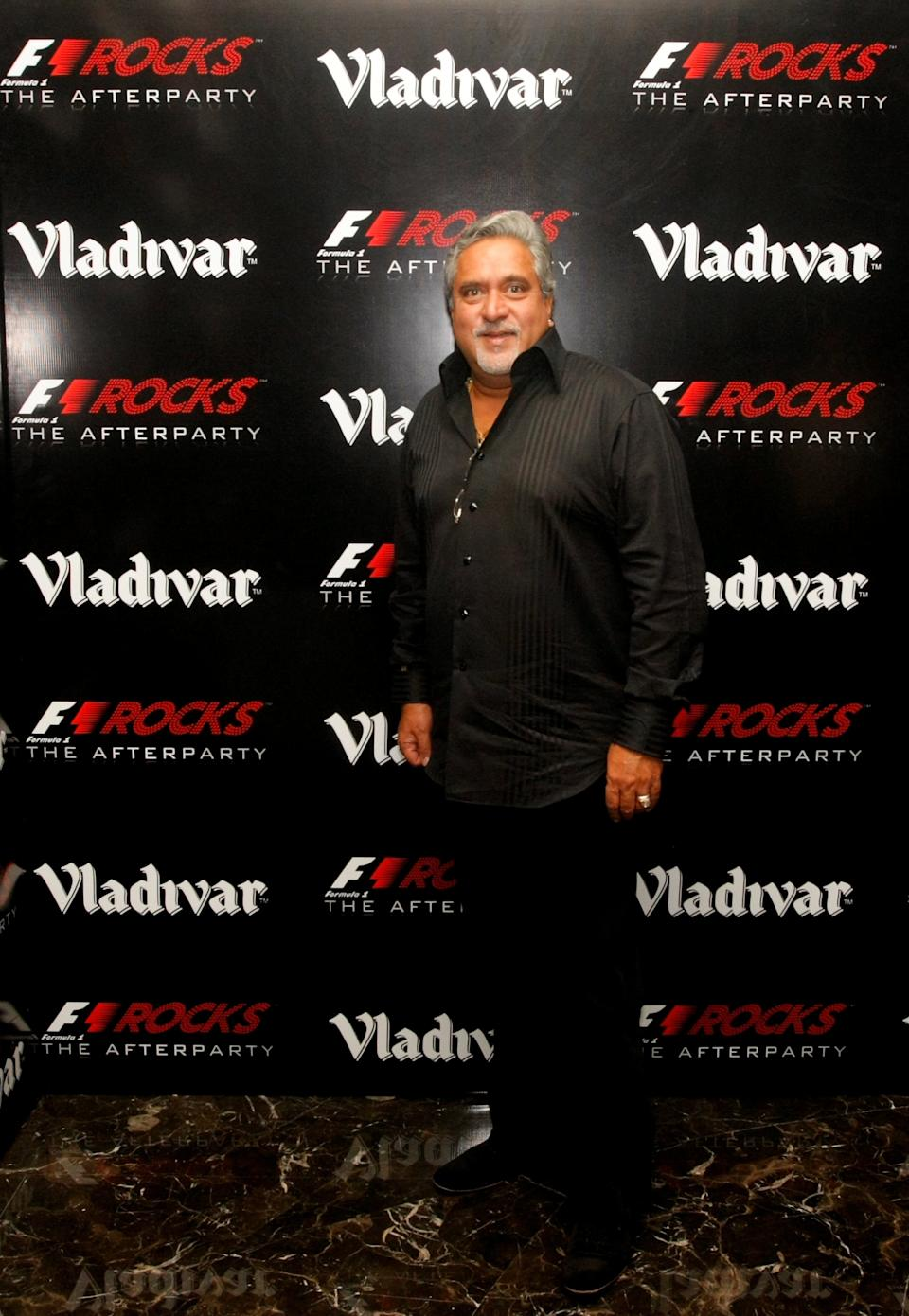 DELHI, INDIA - OCTOBER 30: Vijay Mallya at the F1 Rocks India Afterparty on October 30, 2011 in Delhi, India. (Photo by Andrew Caballero-Reynolds/Getty Images for F1 Rocks in India with Vladivar)