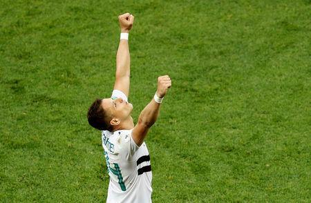 Soccer Football - World Cup - Group F - South Korea vs Mexico - Rostov Arena, Rostov-on-Don, Russia - June 23, 2018 Mexico's Javier Hernandez celebrates victory after the match REUTERS/Darren Staples